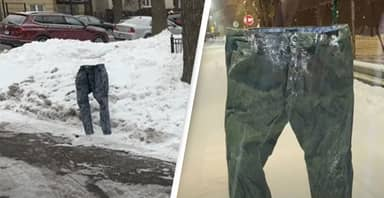 Man Uses Frozen Jeans To 'Dibs' Parking Spots