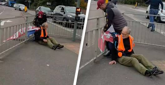 Insulate Britain Protester Tied To Railing With Own Banner By Angry Motorist