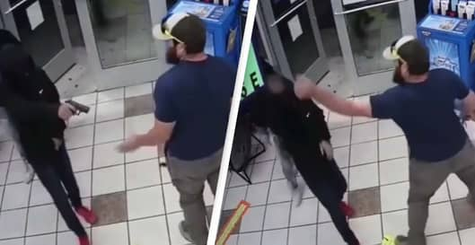 Ex-Marine Disarms Armed Robber At A Gas Station In Shocking Video