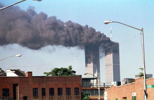 A view of the Twin Towers during the 9/11 attack on the World Trade Center