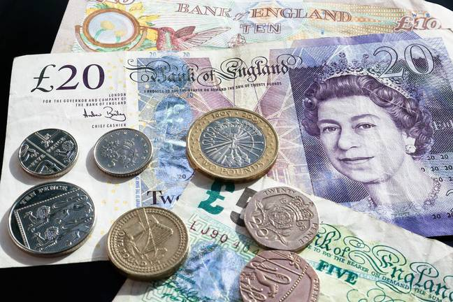 British money laid out on table