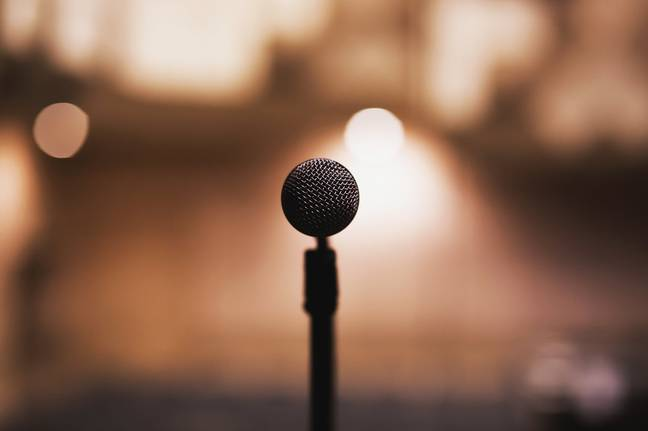 Microphone on stage for performer with social anxiety