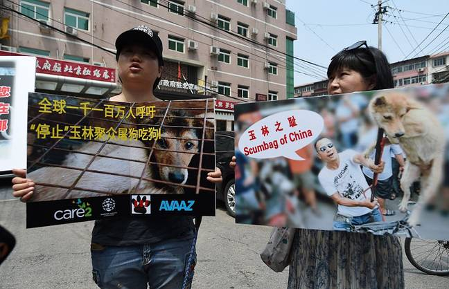 Animal activists protesting outside the Yulin government office in Beijing