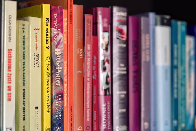 books on a shelf with Harry Potter and the Philosopher's Stone