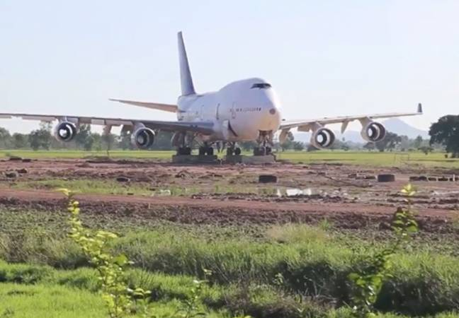 A plane appeared in a field in Thailand.