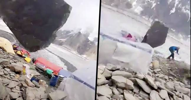 Clips from video of dangerous rock fall