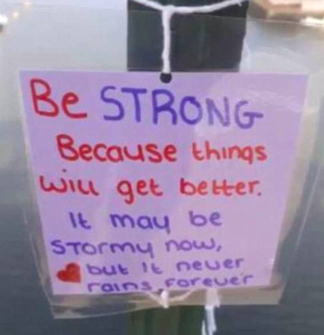 Teenager leaves inspirational messages.