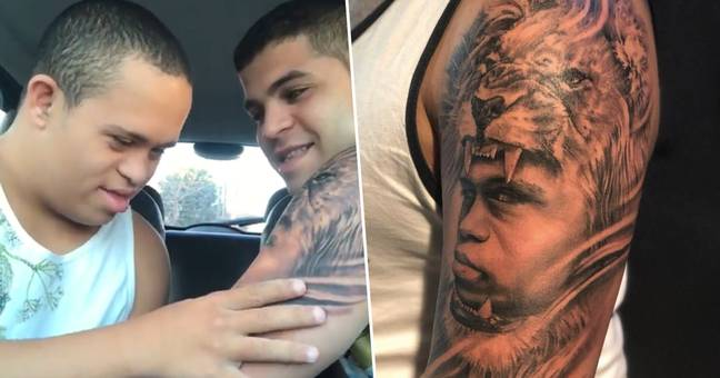 Brother show's tattoo to younger brother