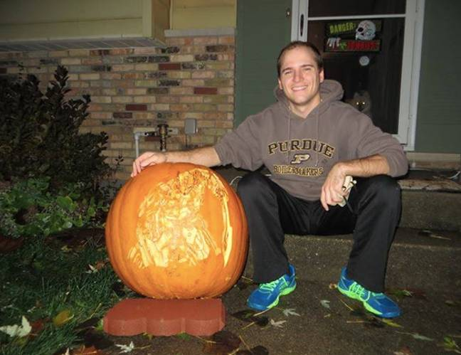andy manoloff with pumpkin