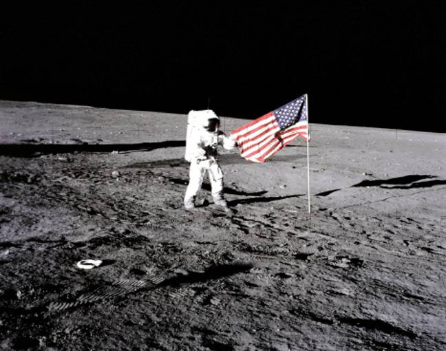 apollo 12 mission american flag