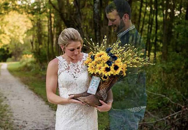 Bride goes to fiance's grave on wedding day