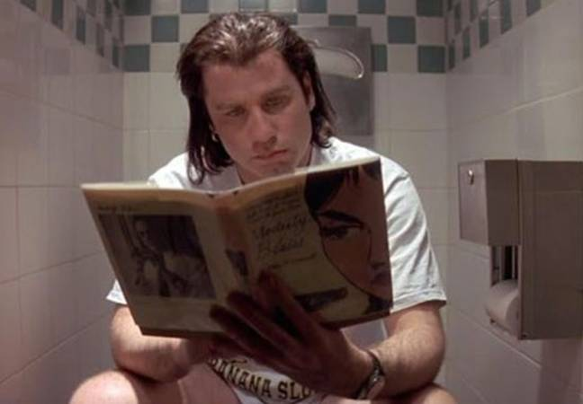 john travolta on toilet in pulp fiction