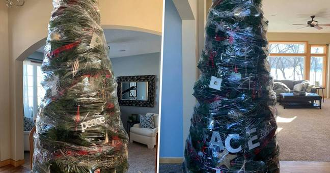 christmas wrapped in plastic