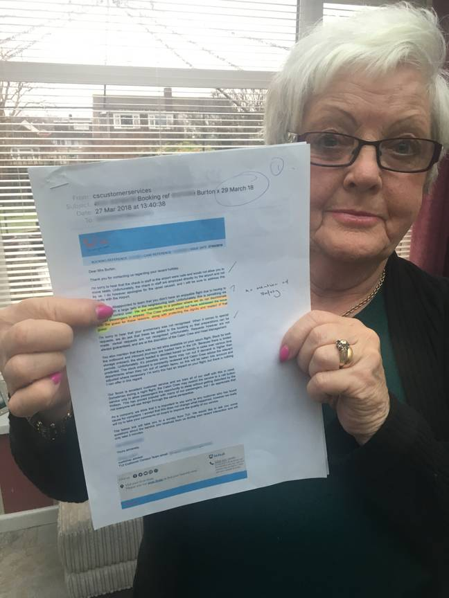A retired holiday tour manager claims TUI put her safety at risk on a long-haul flight by refusing to move a '24 stone' woman sat next to her in case it 'embarrassed her'. Margaret Burton, 72, claims she suffered pain in her neck and arms - and possibly even a blood clot - after being squashed next to an overweight passenger who took up a third of her seat. The 72-year-old claims her 'very obese' fellow traveller's body blocked the armrest from being lowered so left her unable to follow the safety regulations.