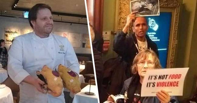 Chef waves ducks in faces of protesters