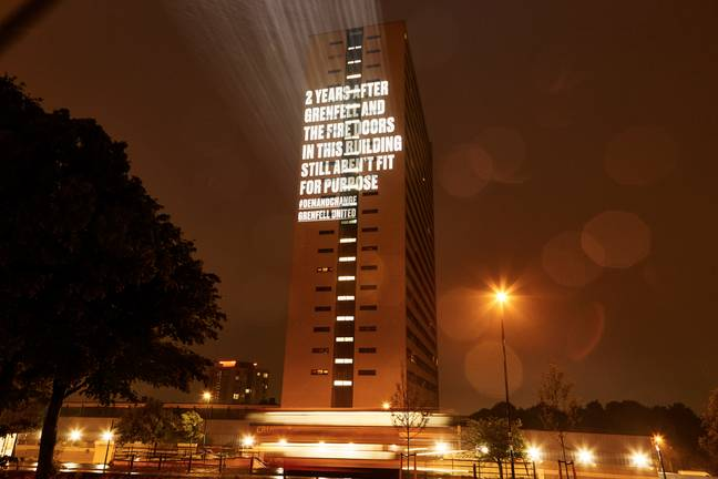 message projected onto block of flats in newcastle