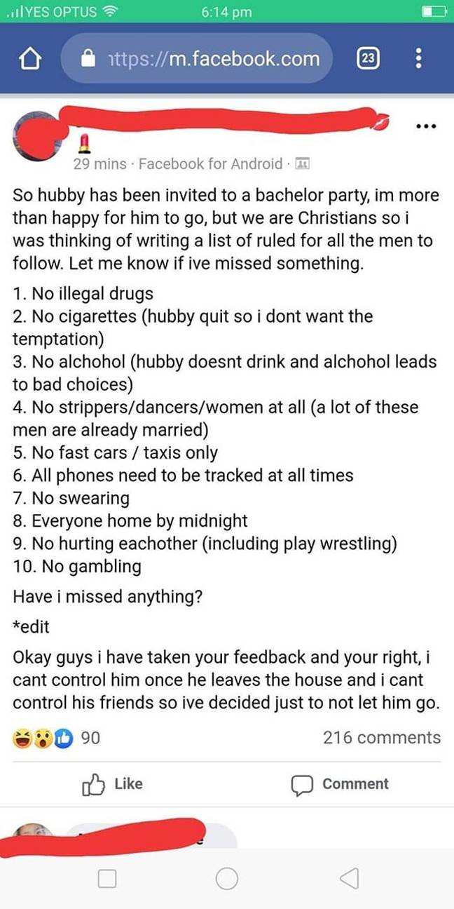 list of rules on facebook