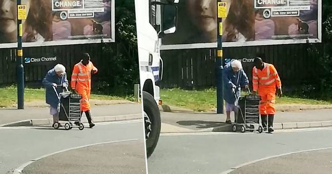 Lorry driver helps old woman cross road