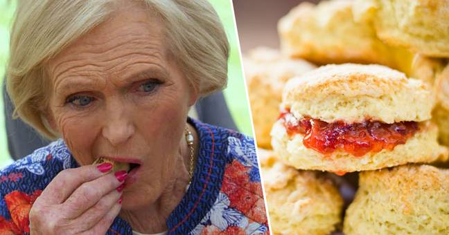 mary berry eating a scone the correct way to pronounce the word