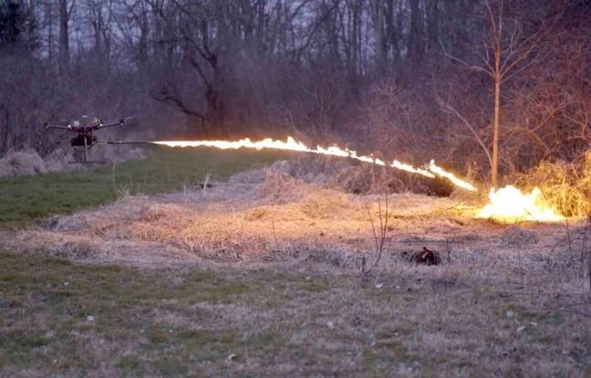 Drone with flame thrower