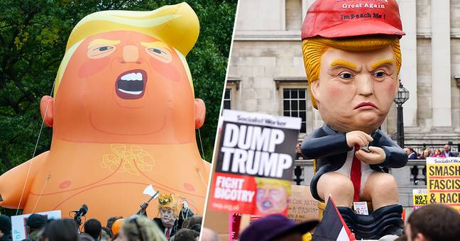 Trump Tweeting On The Toilet Joins Baby Trump Blimp At 4th July Protests
