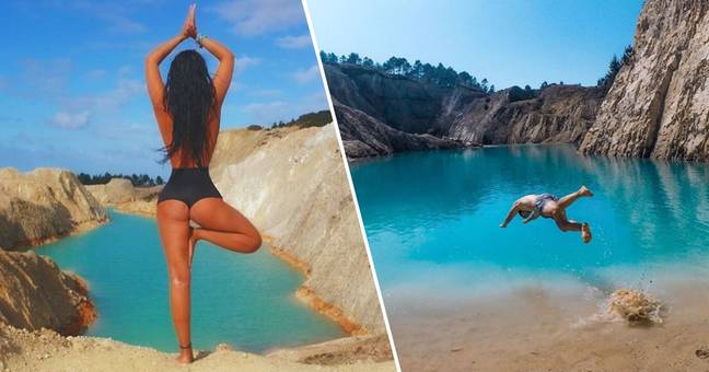 instagrammers posing at Monte Nemo, a toxic lake in Spain