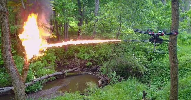 Drones with flame throwers