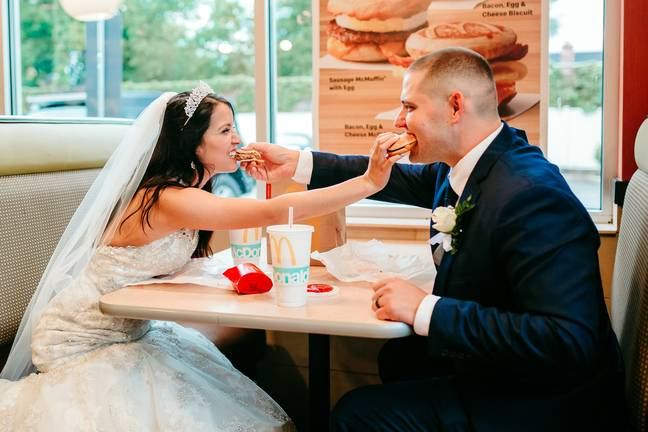 Bride and groom have first meal in McDonald's