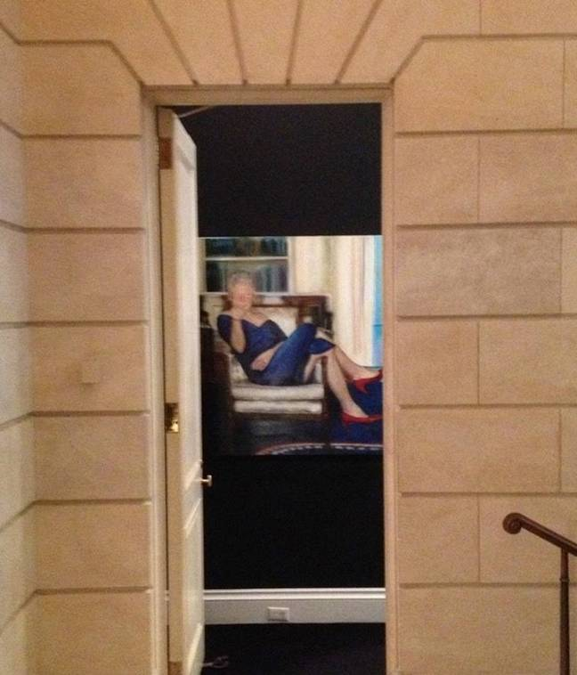 picture of bill clinton painting reportedly inside Jeffrey Epstein's home