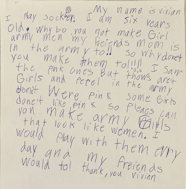 Little girl writes letter to toy company