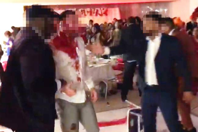 Man left covered in blood after fight breaks out at wedding