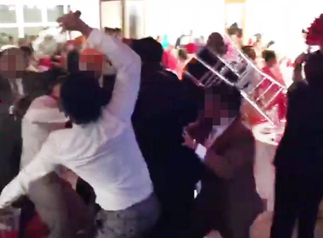 Huge fight breaks out at wedding