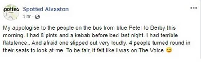 Passenger Shares Hilarious Public Apology After Farting On Bus