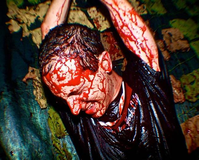 Guy covered in blood at world's scariest haunted house