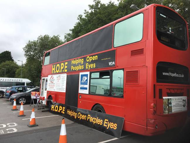 Doublce decker bus converted into homeless shelter