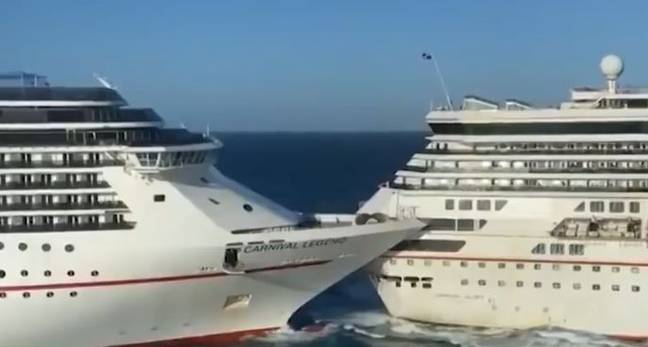 Two Carnival cruise ships filmed crashing into each other