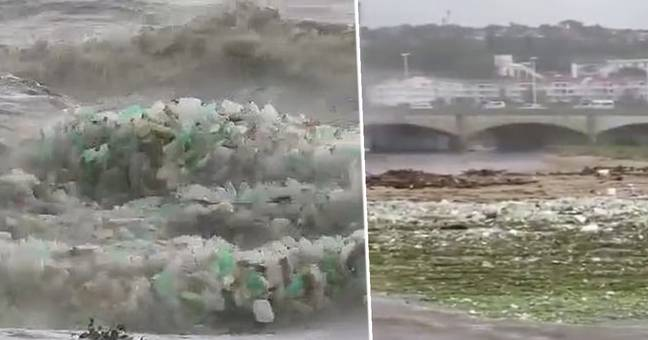 Tidal Waves Made Of Plastic Hit Litter-Strewn Beach In South Africa