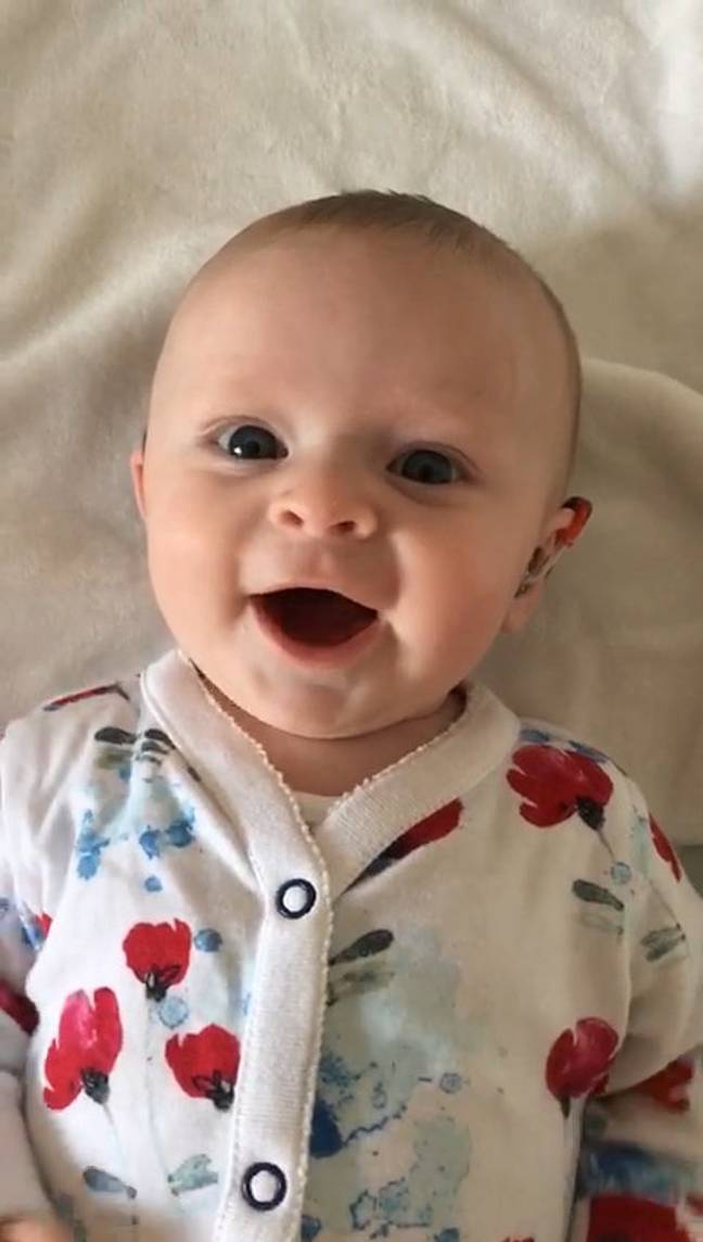 adorable video of baby born deaf hearing 1