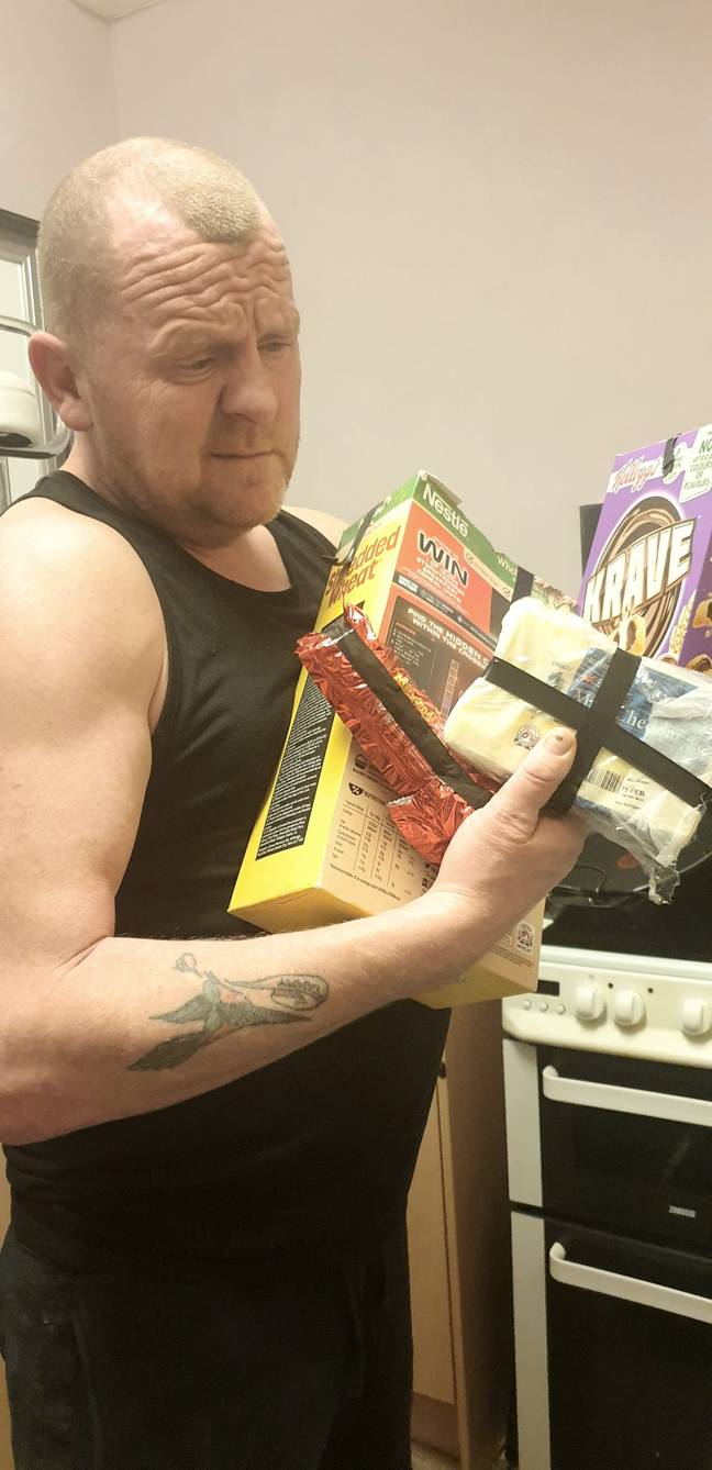 Woman tapes up husbands snacks to stop him eating them