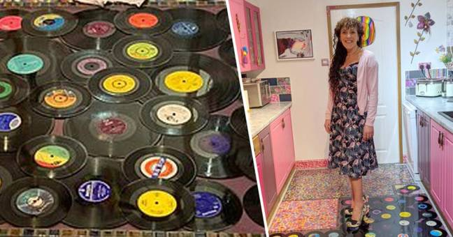 Derbyshire Woman Turns Cheating Ex-Husband's Vinyl Records Into Her Kitchen Floor