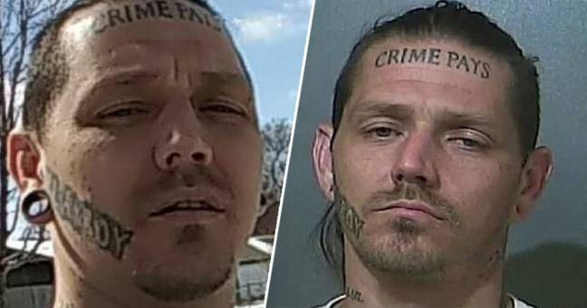 Indiana Man With 'Crime Pays' Tattooed On His Forehead Arrested After Police Chase