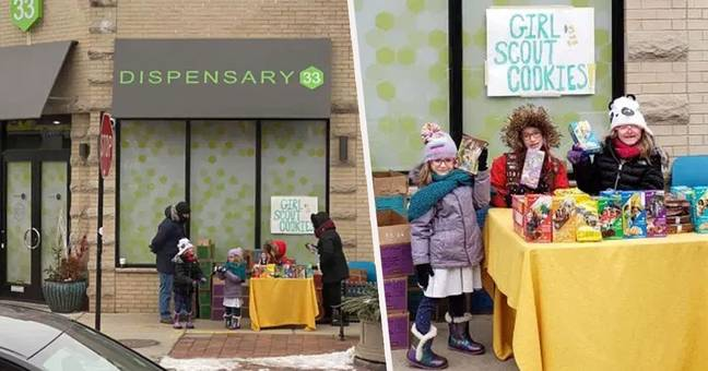 Girl Scout Sets Up Cookie Stand Outside Weed Dispensary