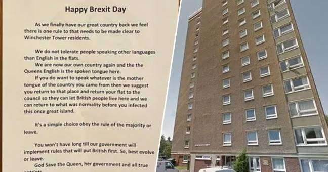 Happy Brexit Day Note Tells Foreign Residents To 'Only Speak English'