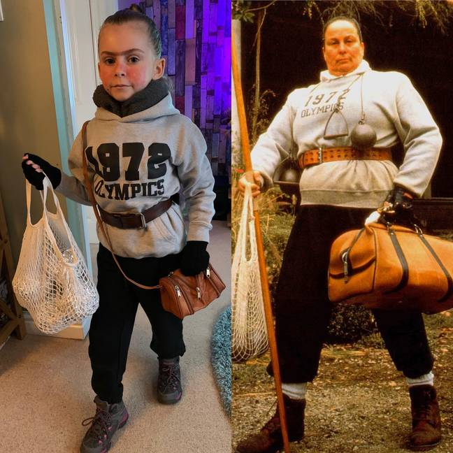 Girl's World Book Day costume compared with Miss Trunchball from Matilda film