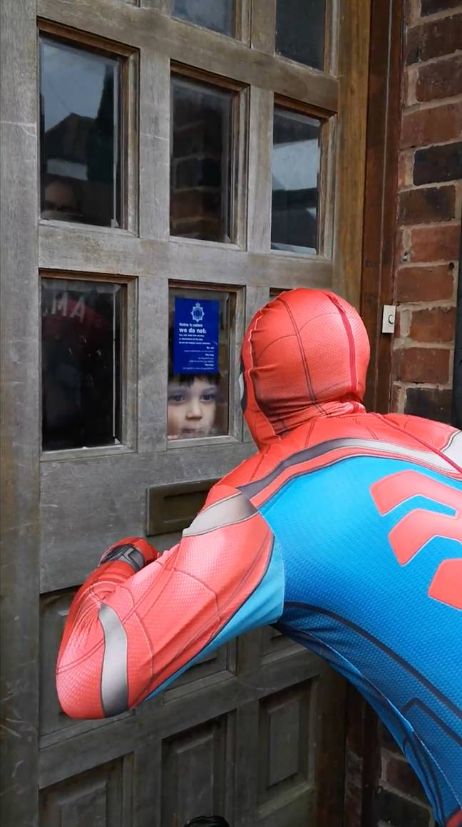 Spider-Man says hello to children who are self-isolating