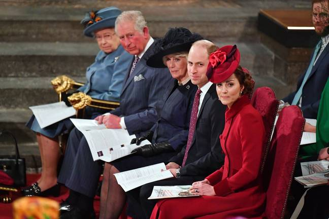 Queen Elizabeth II, the Prince of Wales, the Duchess of Cornwall and the Duke and Duchess of Cambridge, sitting together during the Commonwealth Service at Westminster Abbey