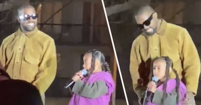 North West Performs Rap In The Middle Of Kanye West's Fashion Show In Paris