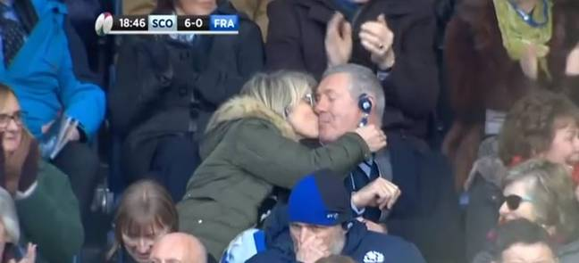 Rugby Player Reacts To Parents Kissing On Camera To Celebrate His Conversion
