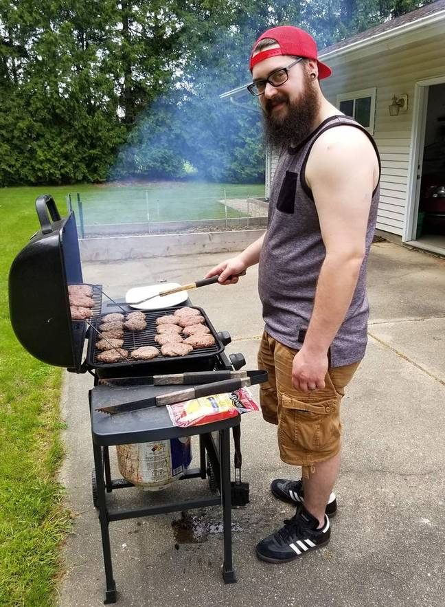 Andrew cooking on the grill