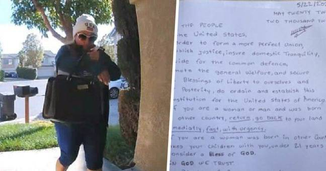 California Woman Charged After Home Security Catches Her Posting Racist Letters To Neighbours
